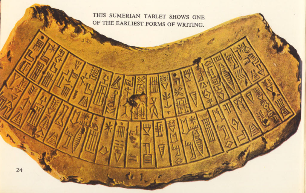 sumerian tablet and earliest writing